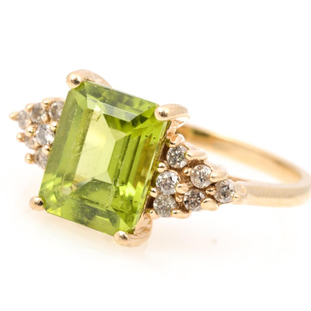 10K Yellow Gold 2.75 CT Peridot and Diamond Ring