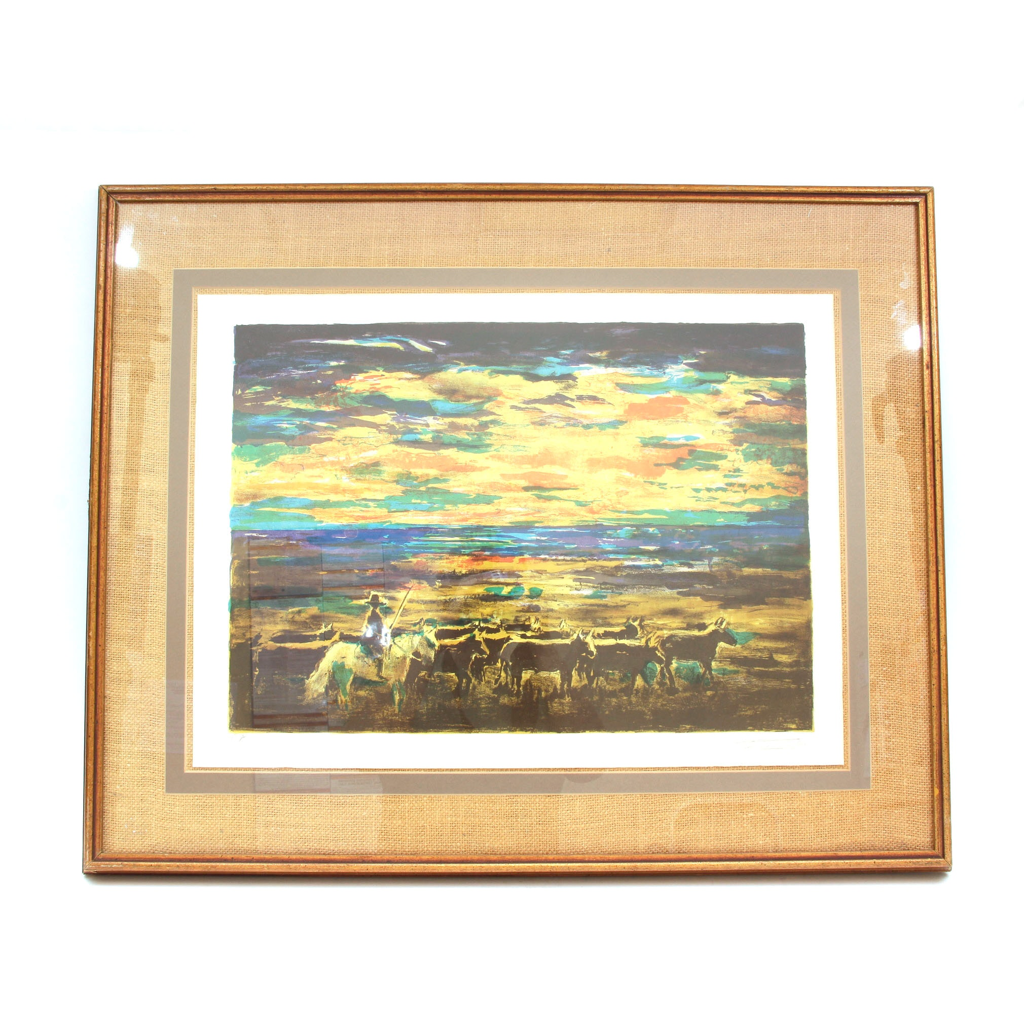 Signed Artists Proof Serigraph of a Cattle Drive and Sunset