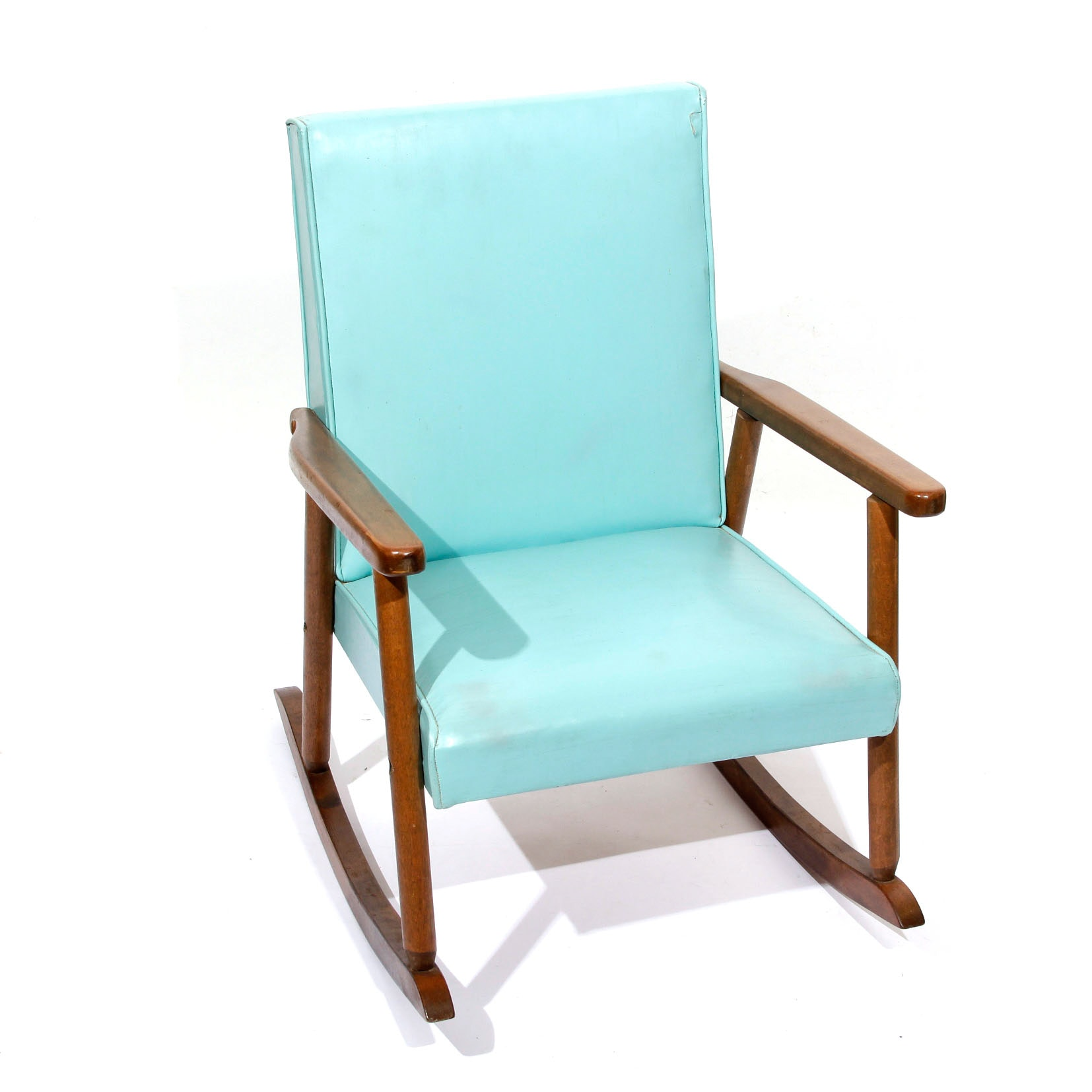Mid Century Modern Vintage Turquoise Childs Rocking Chair