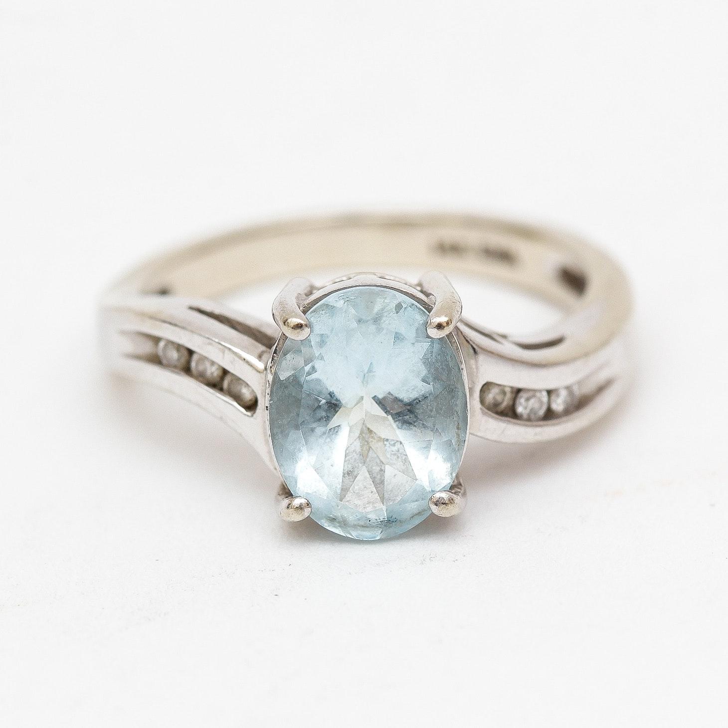 EMA 14K White Gold Aquamarine and Diamond Ring