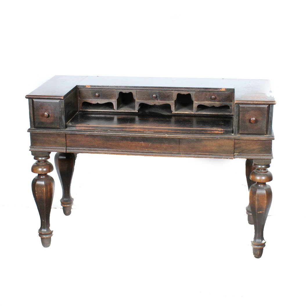 High Quality Early 20th Century Spinet Desk By H.E. Shaw Furniture ...