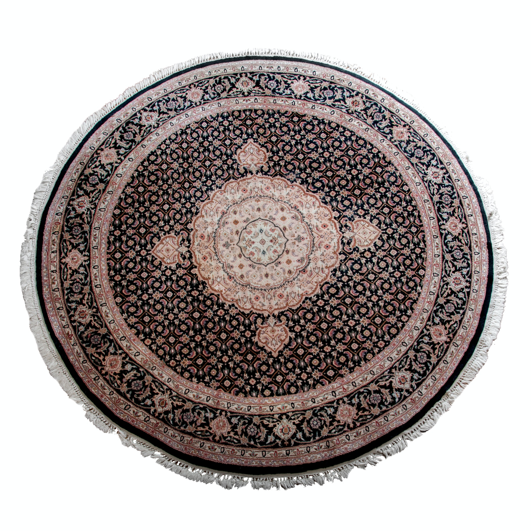 Hand-Knotted Circular Indo-Persian Wool Area Rug