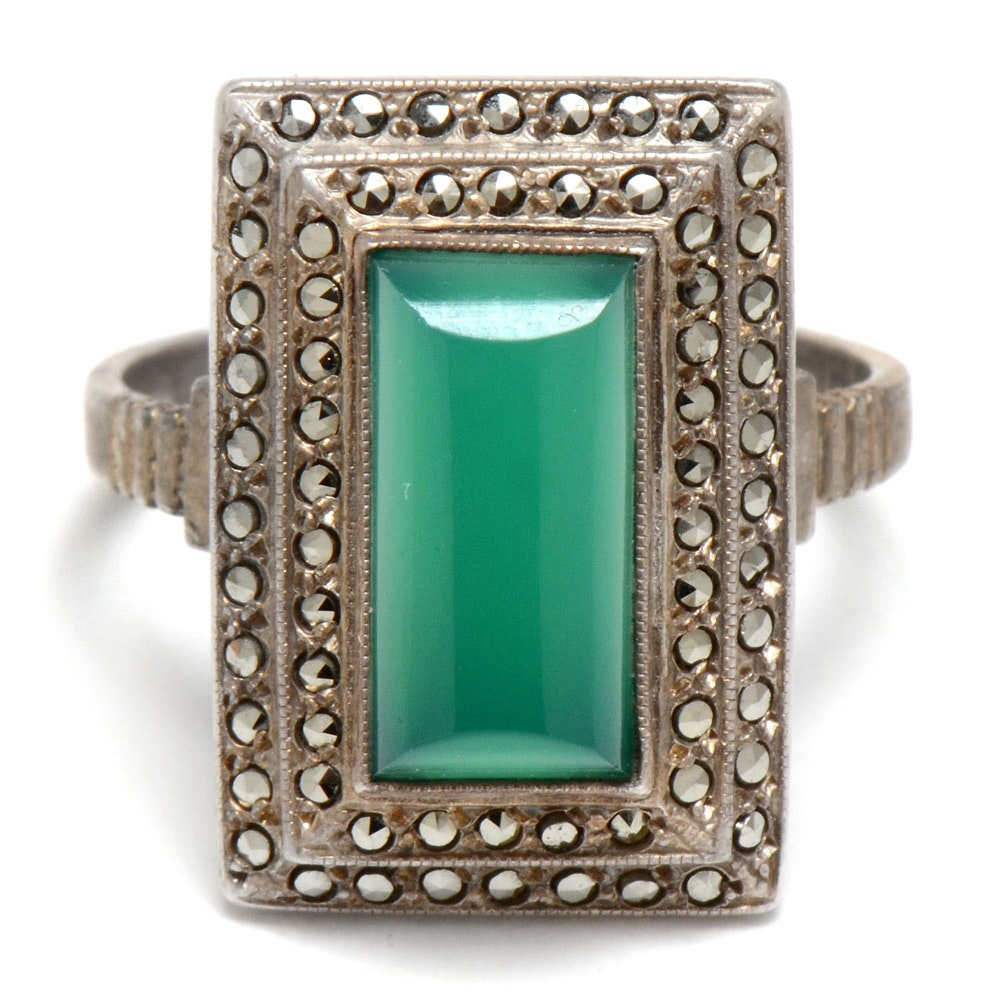 Theda Art Deco Sterling Silver Dyed Green Chalcedony and Marcasite Ring