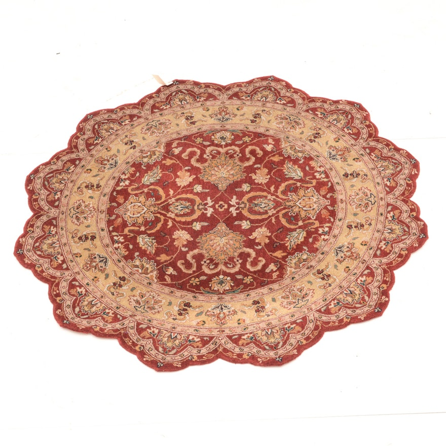 Persian Hand Woven Bakhtiari Style Wool Area Rug Ebth: Rug Gallery Round Scalloped Persian Style Wool Rug