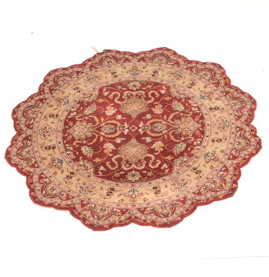Round Wool Persian Rug: Rug Gallery Round Scalloped Persian Style Wool Rug : EBTH