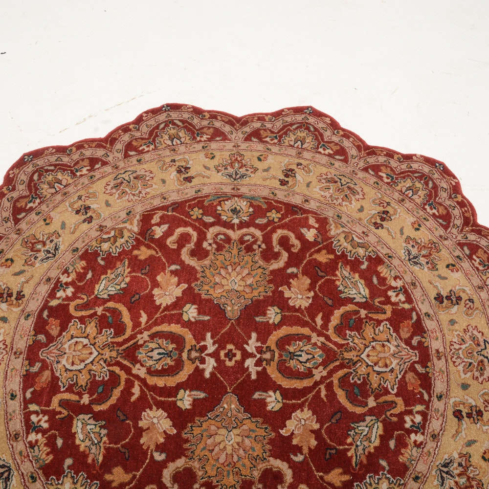 Rug Gallery Round Scalloped Persian Style Wool Rug Ebth