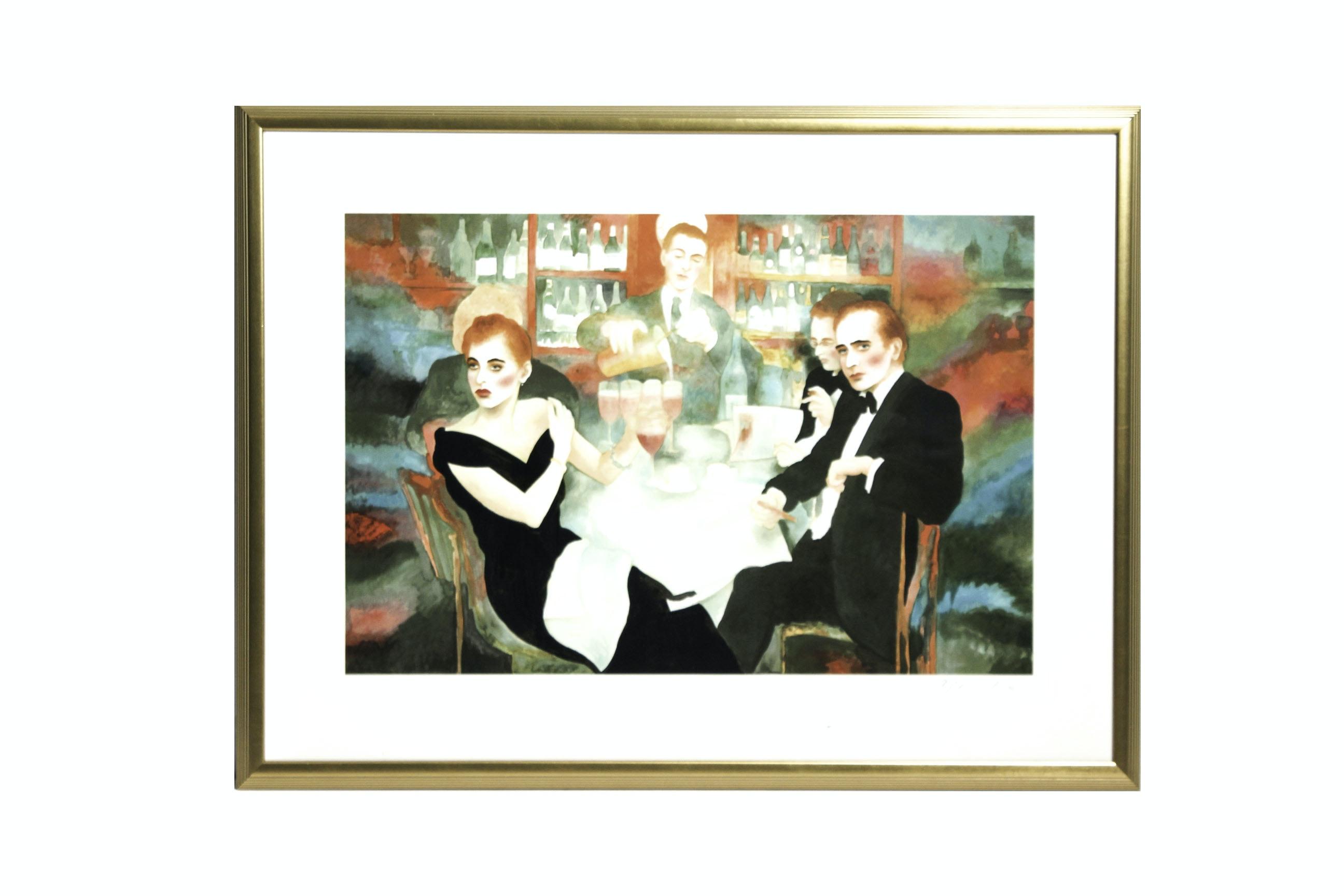 "Joanna Zjawinska Limited Edition Serigraph ""Harry's Bar 1987"""