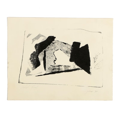 Ricardo Morin Limited Edition Woodblock on Paper Abstract Scene