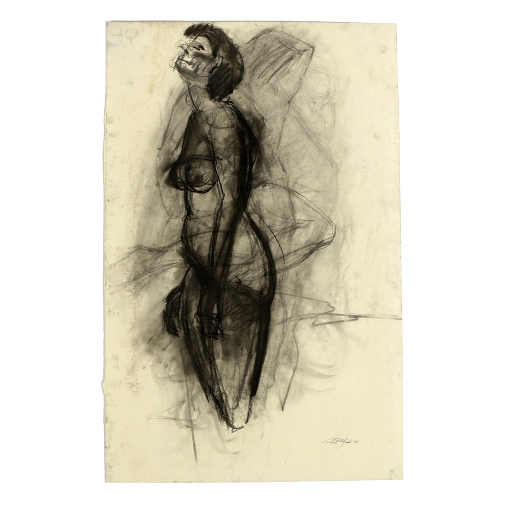 Ricardo Morin Charcoal Drawing on Paper of Female Nude Study