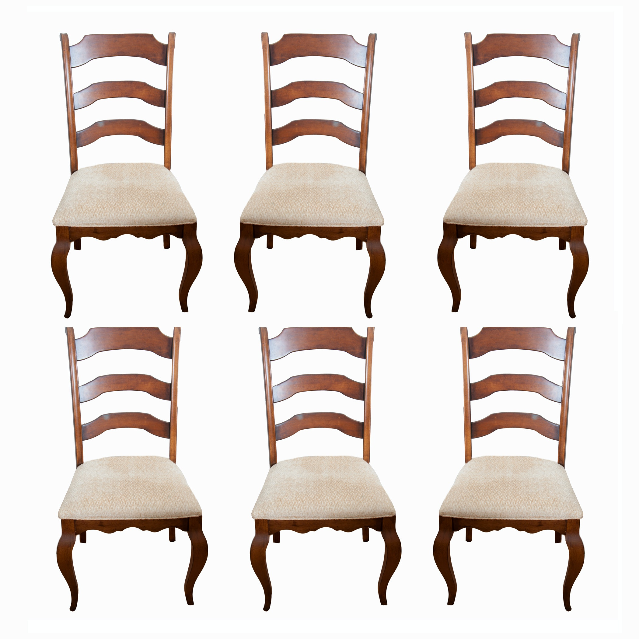 Six Contemporary Ladderback Dining Chairs