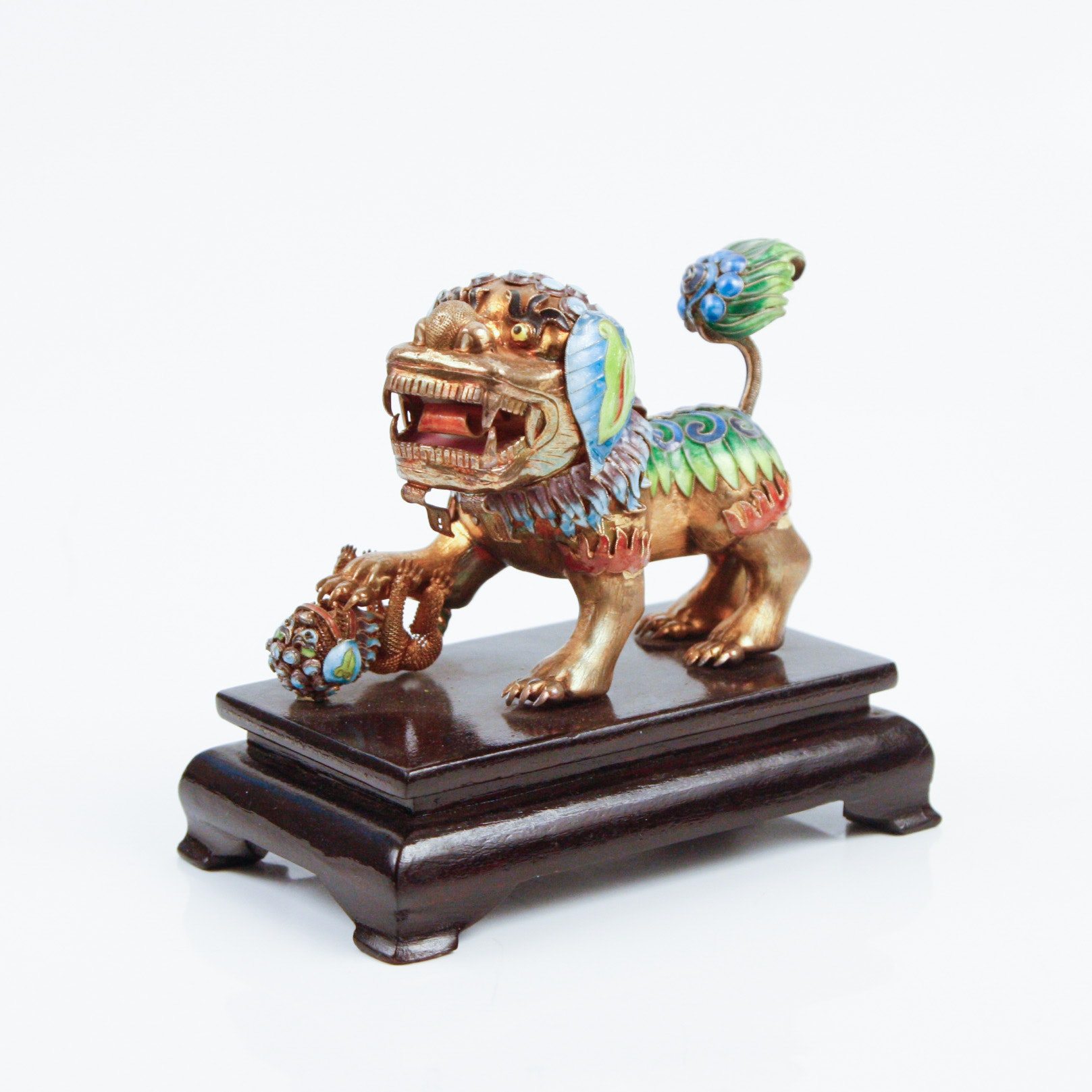 Chinese Enameled Copper Lion Foo Dog Sculpture