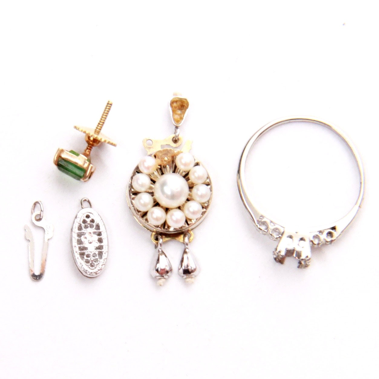 Grouping of Jewelry Parts Including 14K and 18K Gold