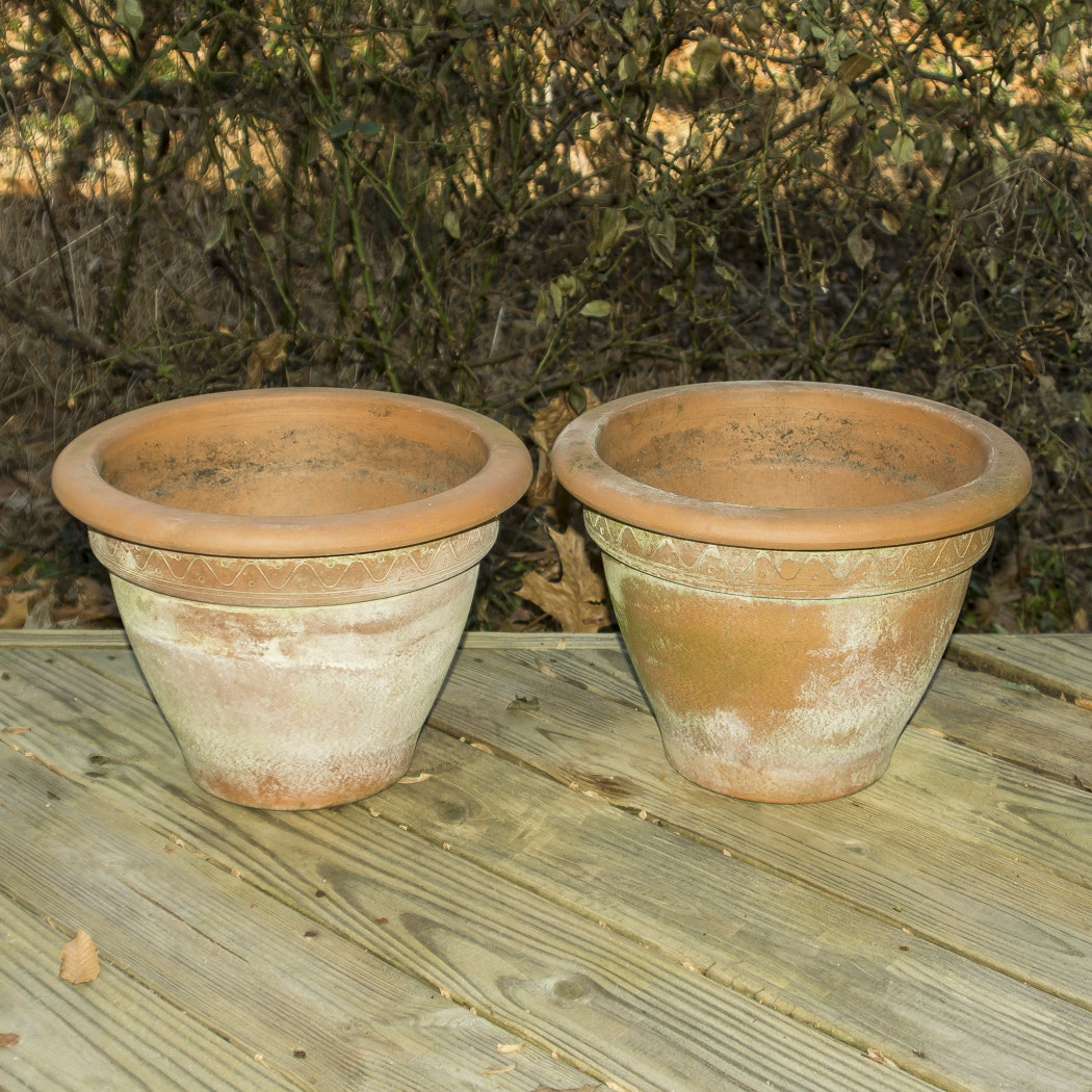 Pair of Terracotta Planters With Wave Design
