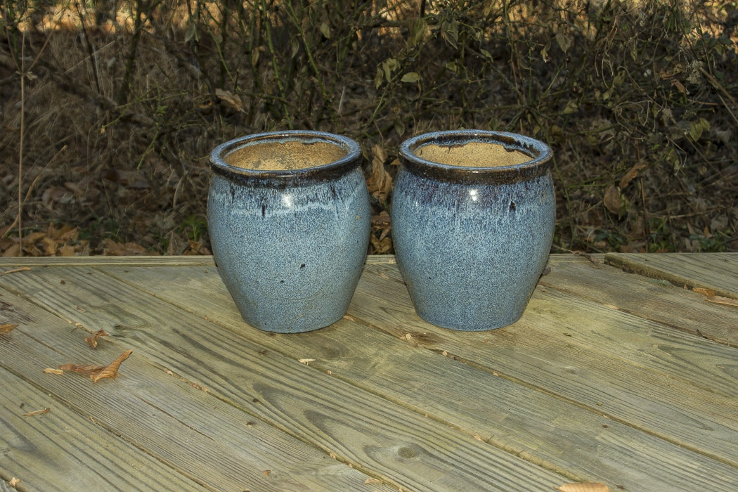 Pair of Blue Glazed Planters