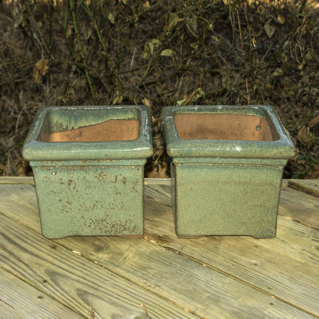 Two Square Green Glazed Planters