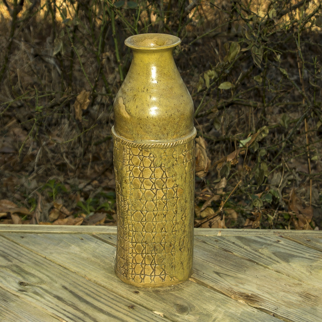 Tall Cylindrical Tan Pottery Vase