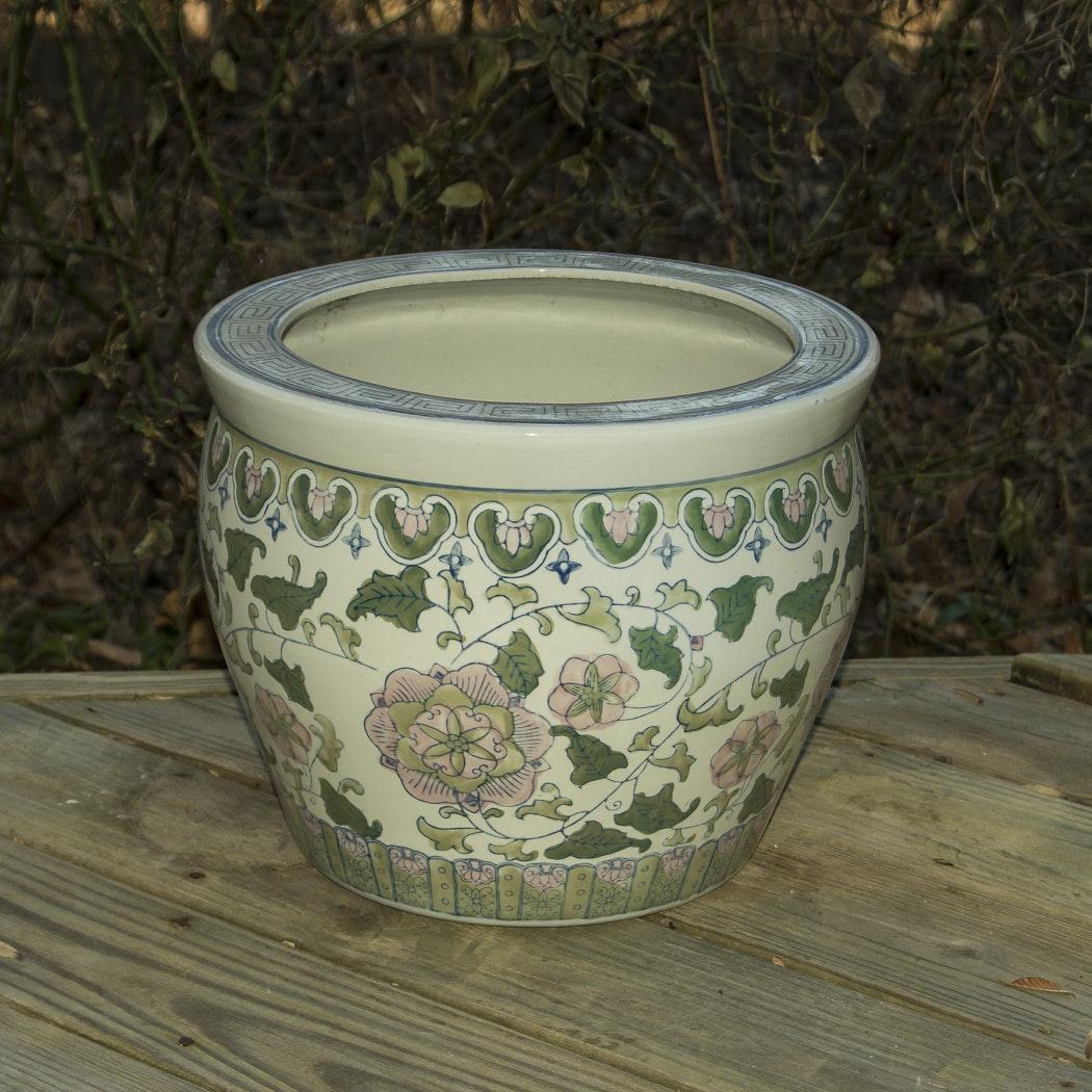 Large Chinese Porcelain Fishbowl Jardinière