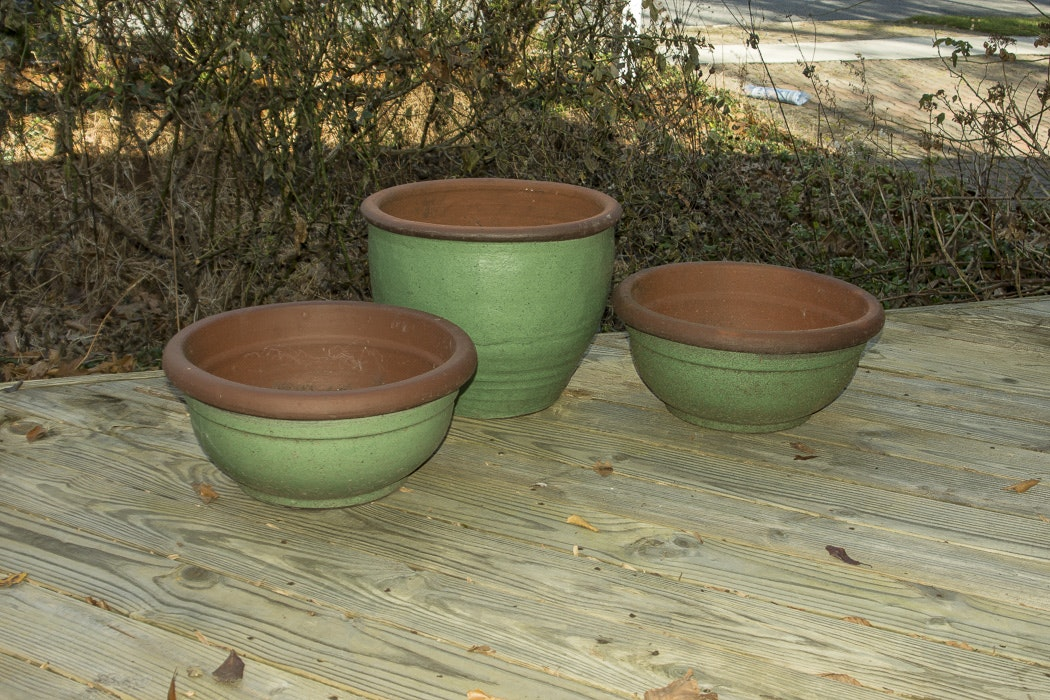 Set of Three Large Spring Green Planters