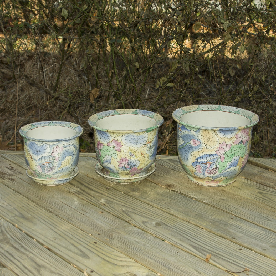 Multicolored Porcelain Planters and Saucers