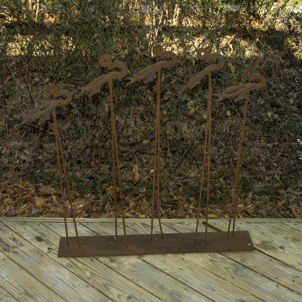 Bird Motif Metal Lawn Sculpture