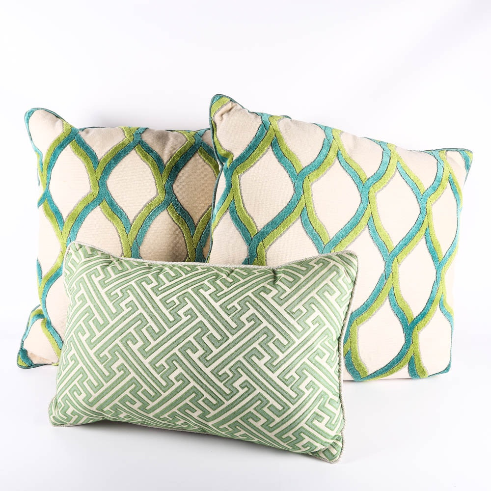 Turquoise and Green Feather Down Throw Pillows