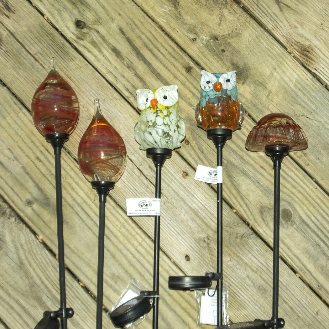 Group of Outdoor Solar Garden Stakes with Glass Globes