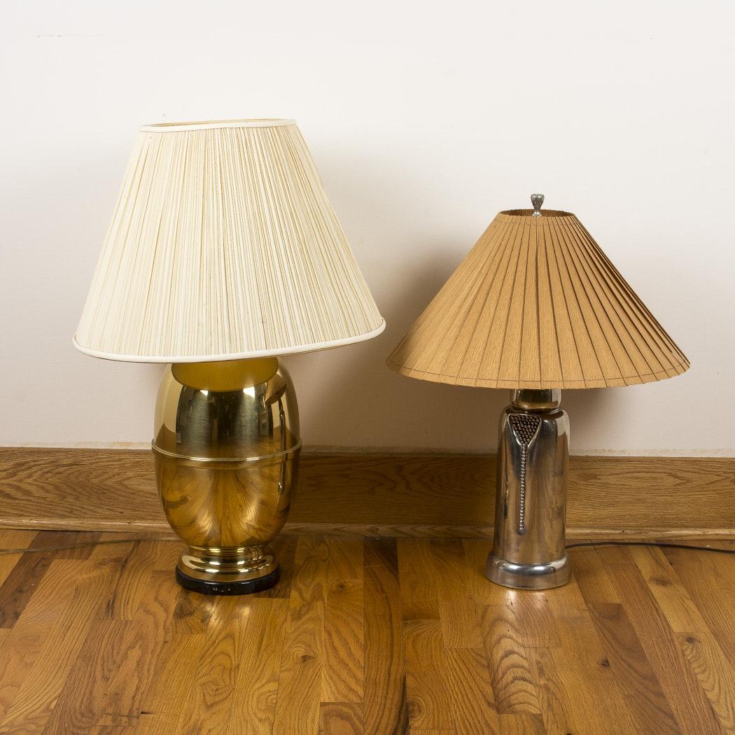 Pair of Metal Base Table Lamps
