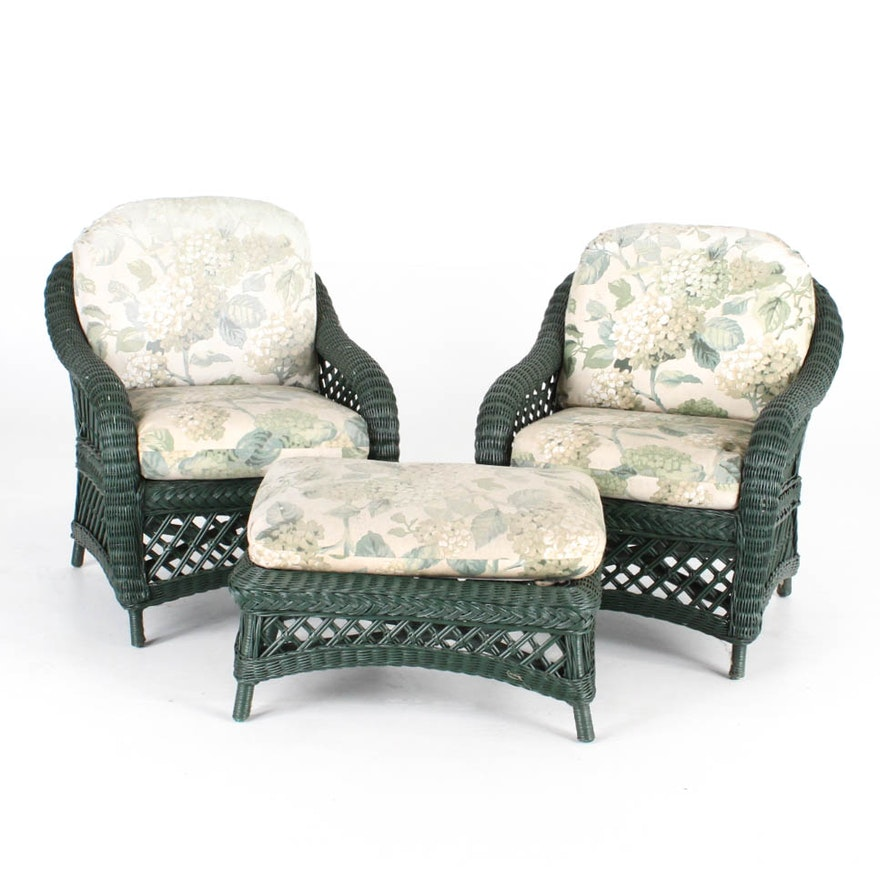 henry link wicker chairs and ottoman ebth. Black Bedroom Furniture Sets. Home Design Ideas