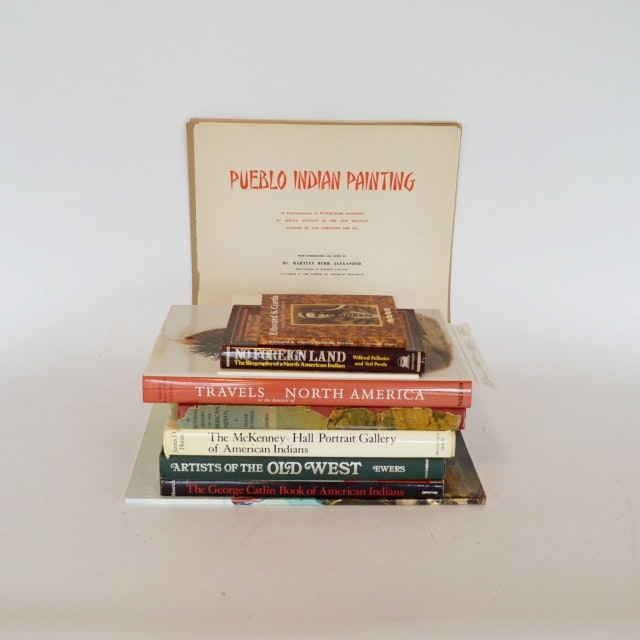 Native American Book Collection With Native American Prints