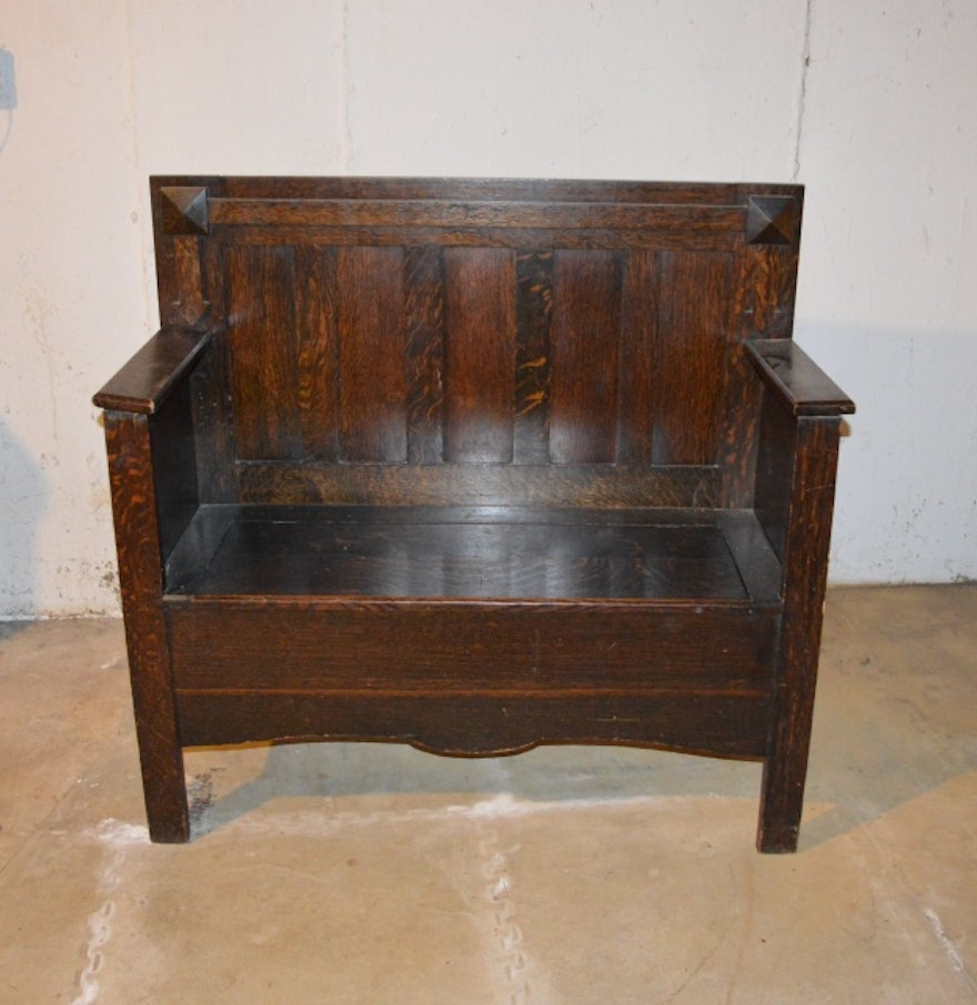 Antique Mission Style Oak Bench Ebth