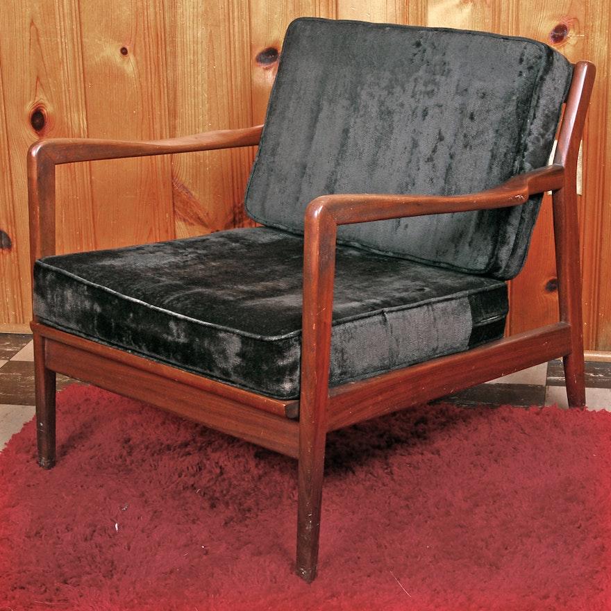 Mid Century Modern Wood Armchair With Velvet Cushions