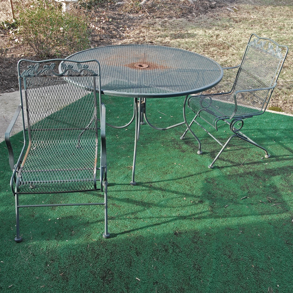 wrought iron patio table chairs and umbrella set ebth
