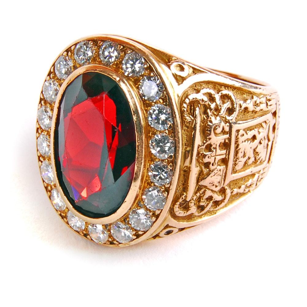 14 Kt Gold Garnet and Diamond Catholic Bishops Ring