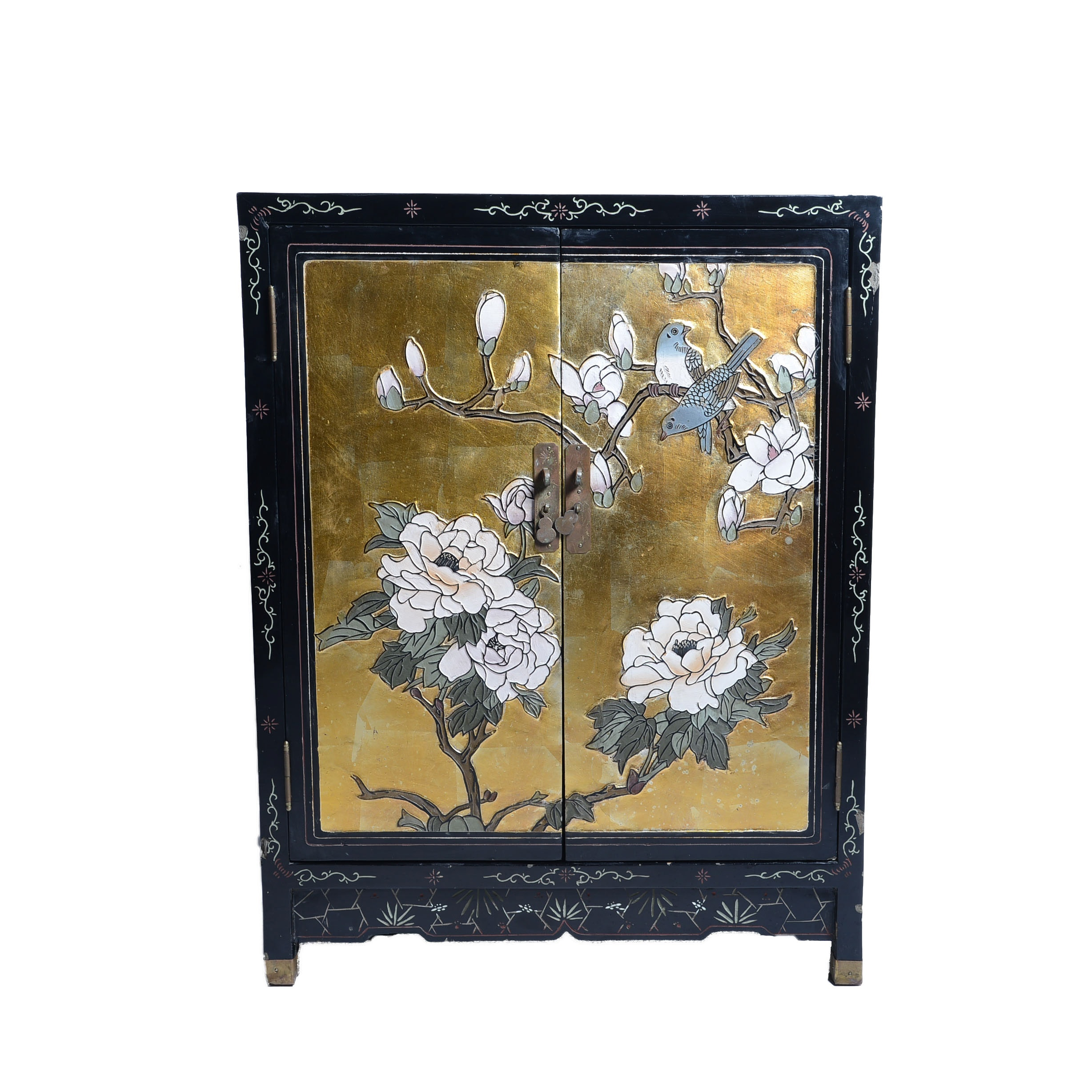 Small Chinese Black and Gold Lacquered Chest