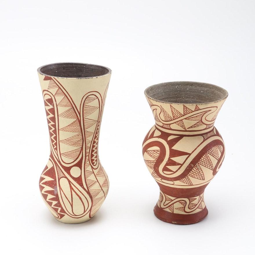 African Burundi Hand Painted Vases Ebth