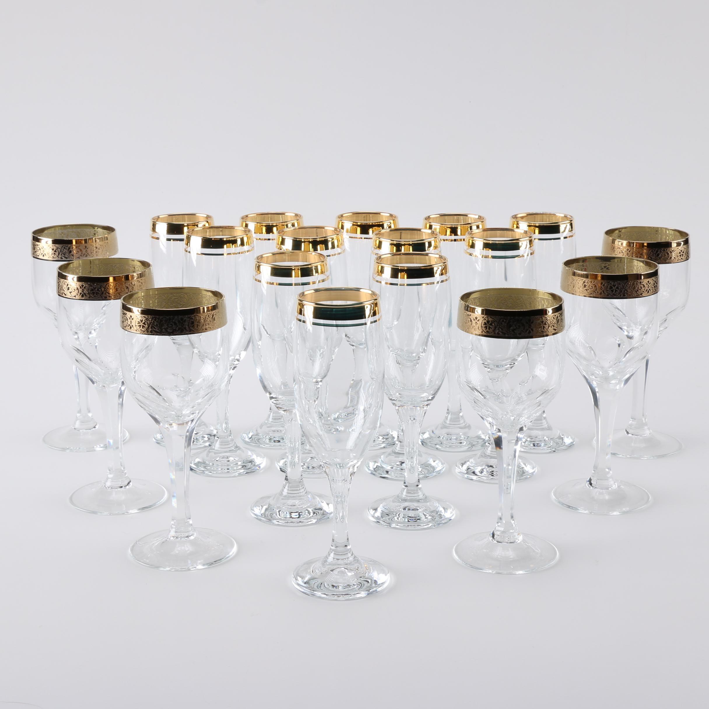 Gold Tone Trimmed Crystal Stemware