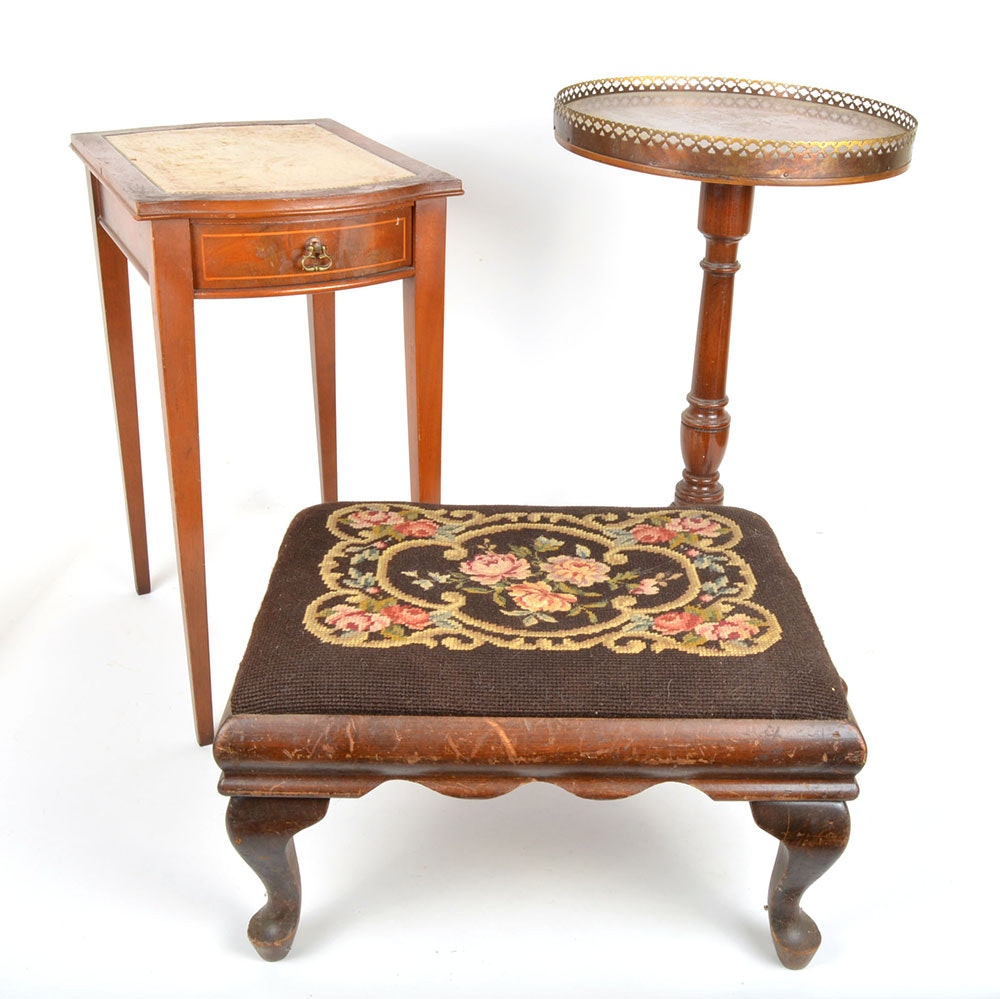 Two Vintage Small Wood Accent Tables And One Embroidered