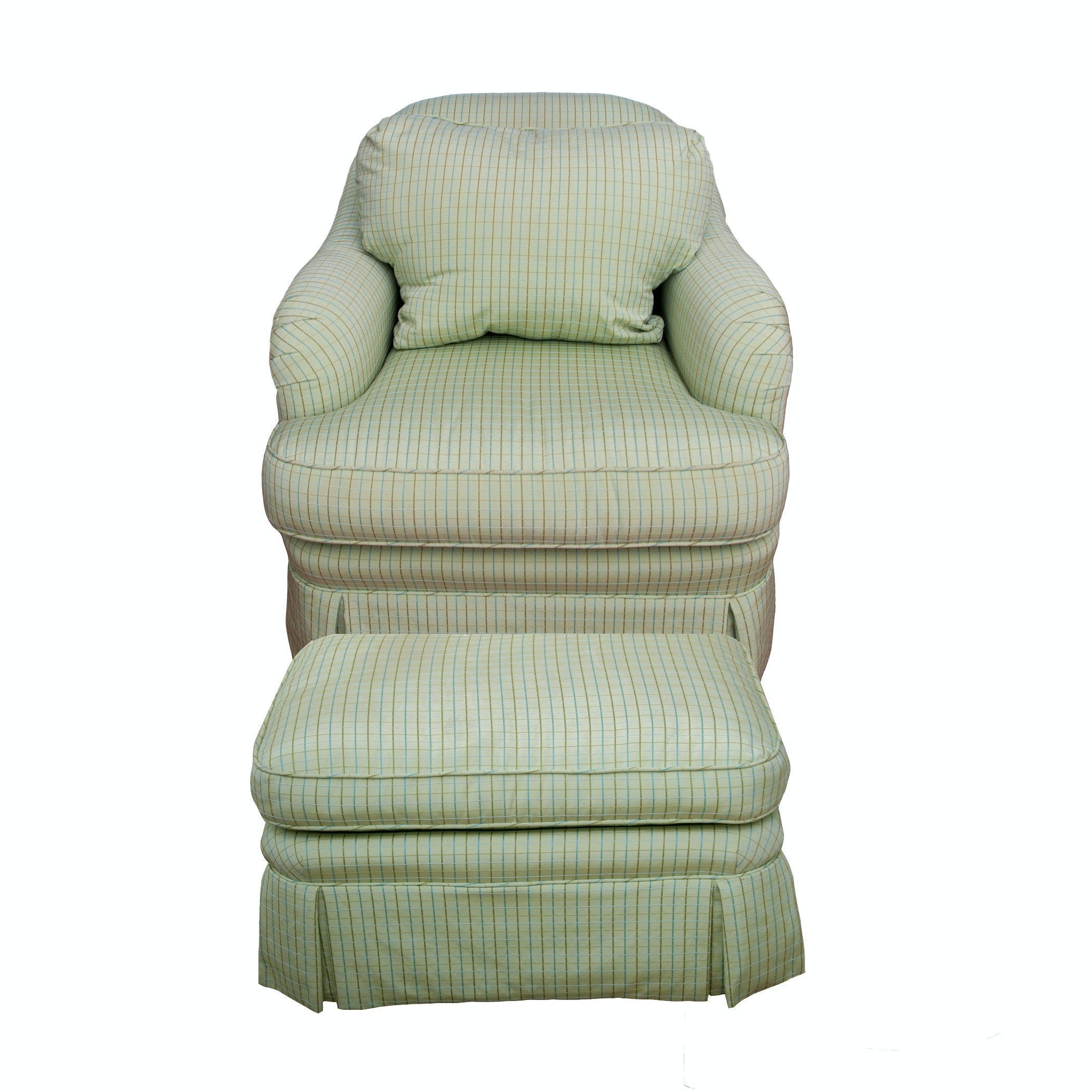 Green Tattersall Club Chair and Ottoman