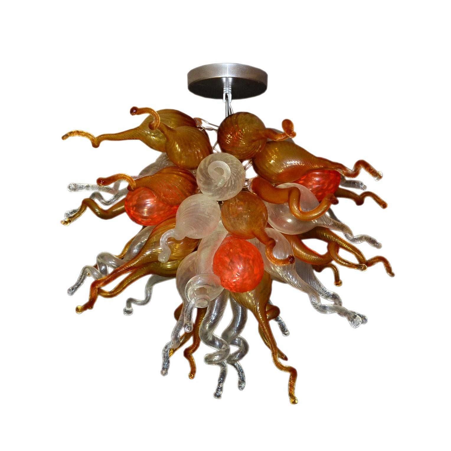 Handblown Italian Art Glass Ceiling Chandelier