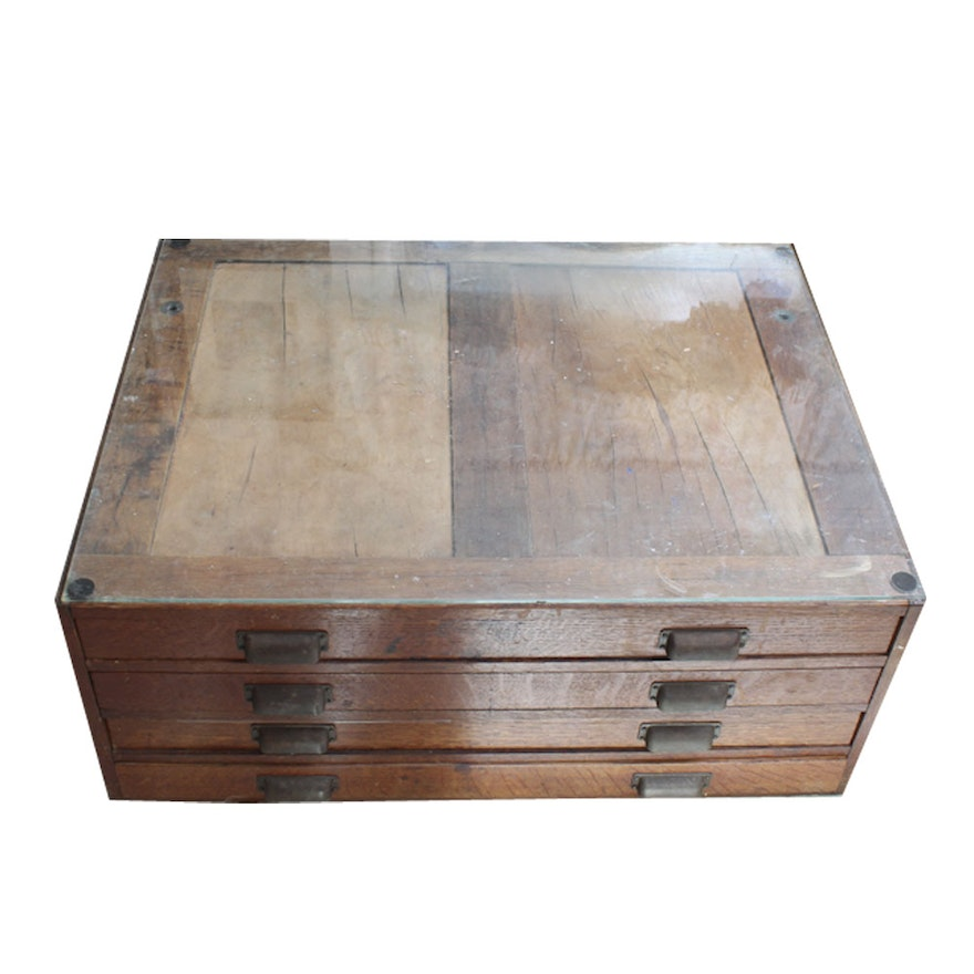 Wood Map Print Flat Cabinet Coffee Table