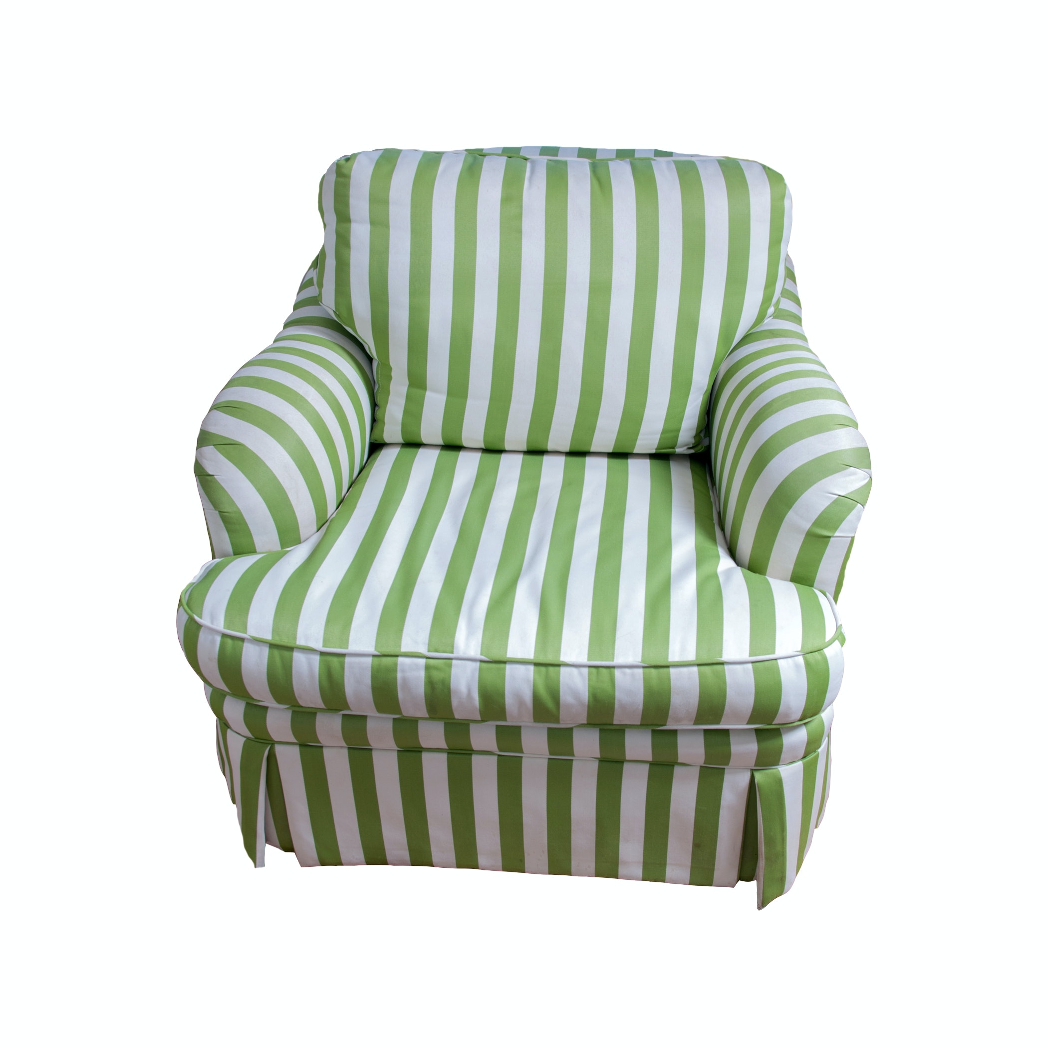 Green and White Striped Club Chair