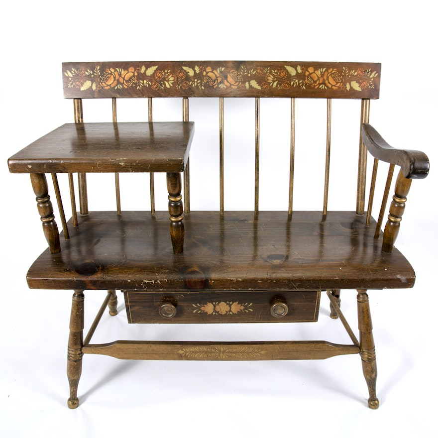 Excellent Windsor Telephone Table Bench With Painted Floral Design Andrewgaddart Wooden Chair Designs For Living Room Andrewgaddartcom