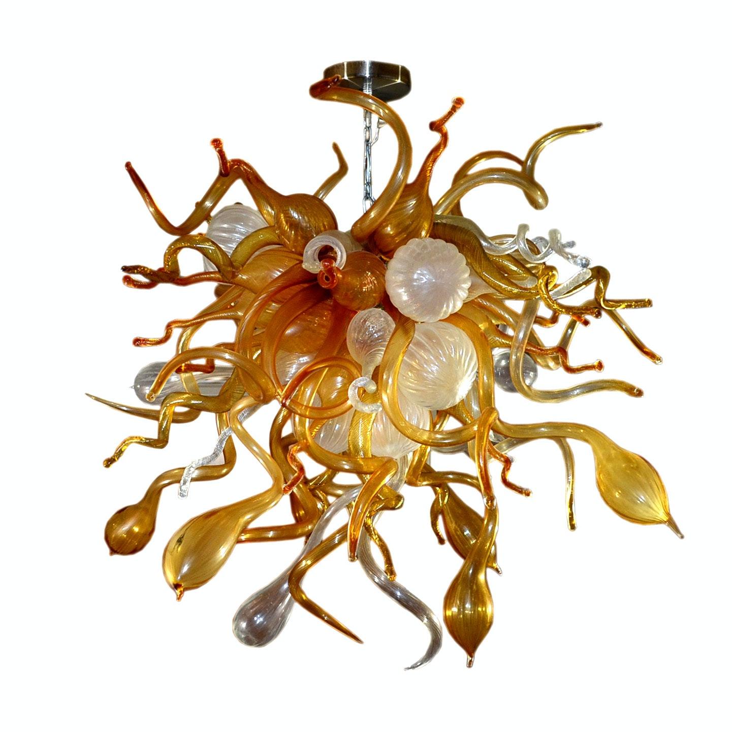 Large Hand Blown Italian Art Glass Ceiling Light Fixture