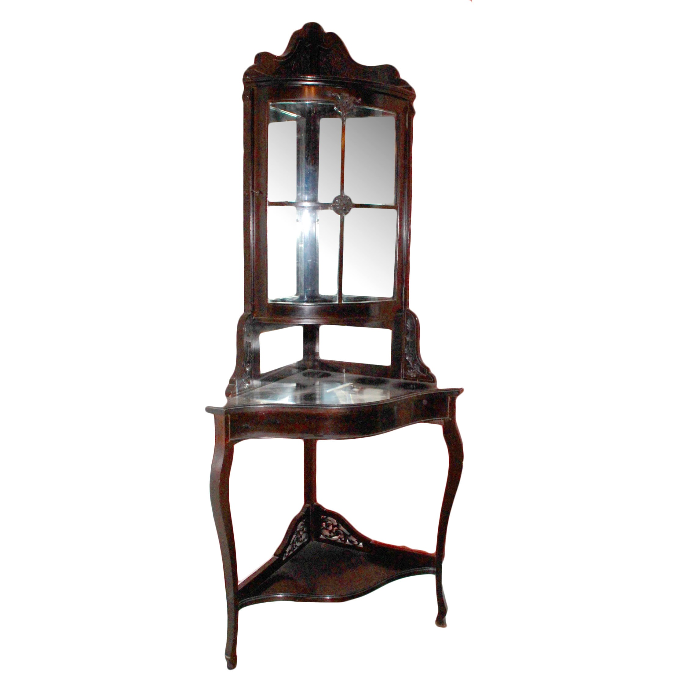 Corner Display Cabinet With Mirrored Back