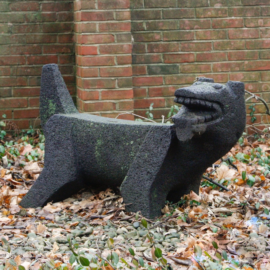 Mexican volcanic rock carved garden bench of chacmool dog
