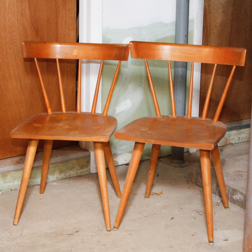 Pair Of Paul Mccobb Planner Group Maple Spindle Back Chairs