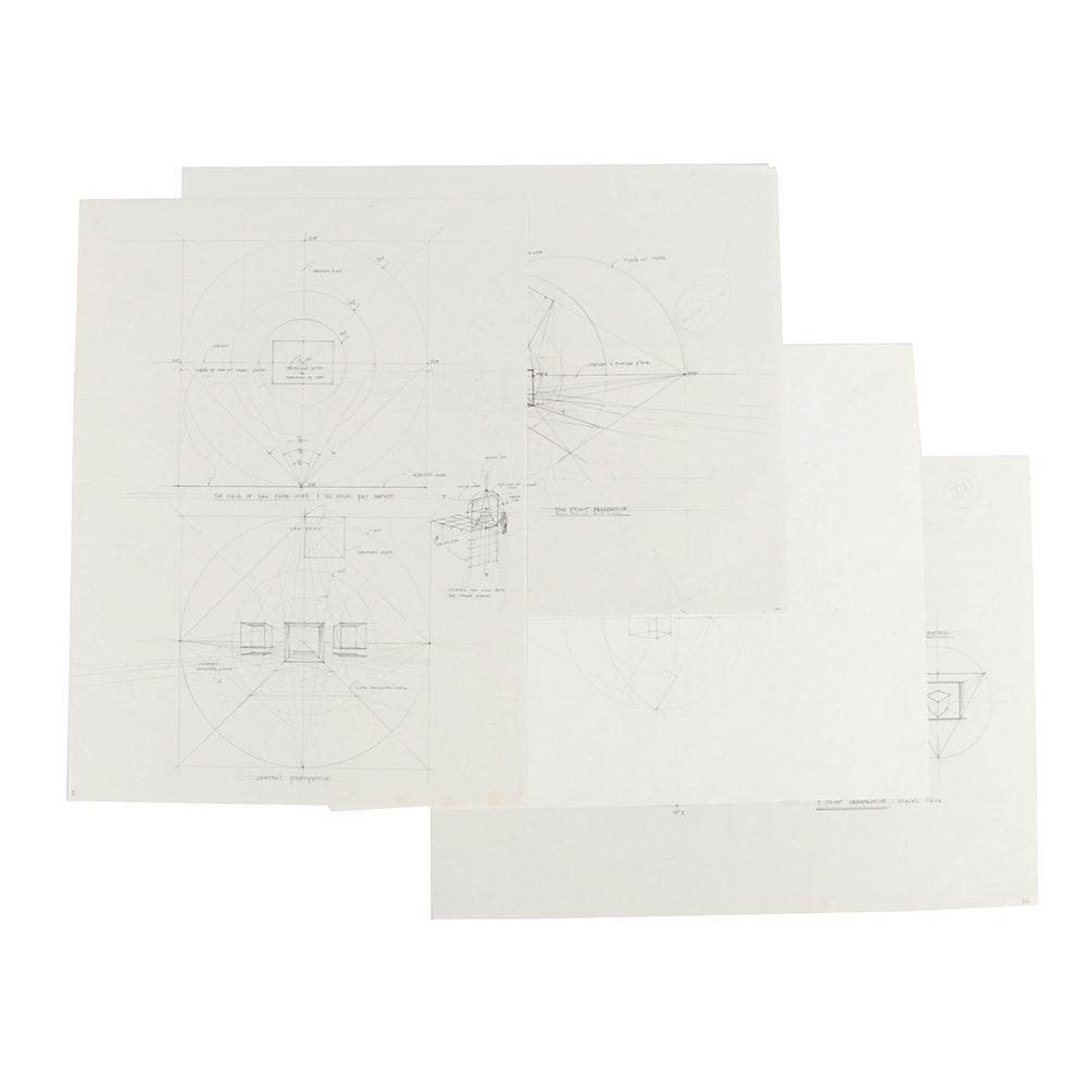 Ricardo Morin Graphite Drawings on Paper of Perspective Studies