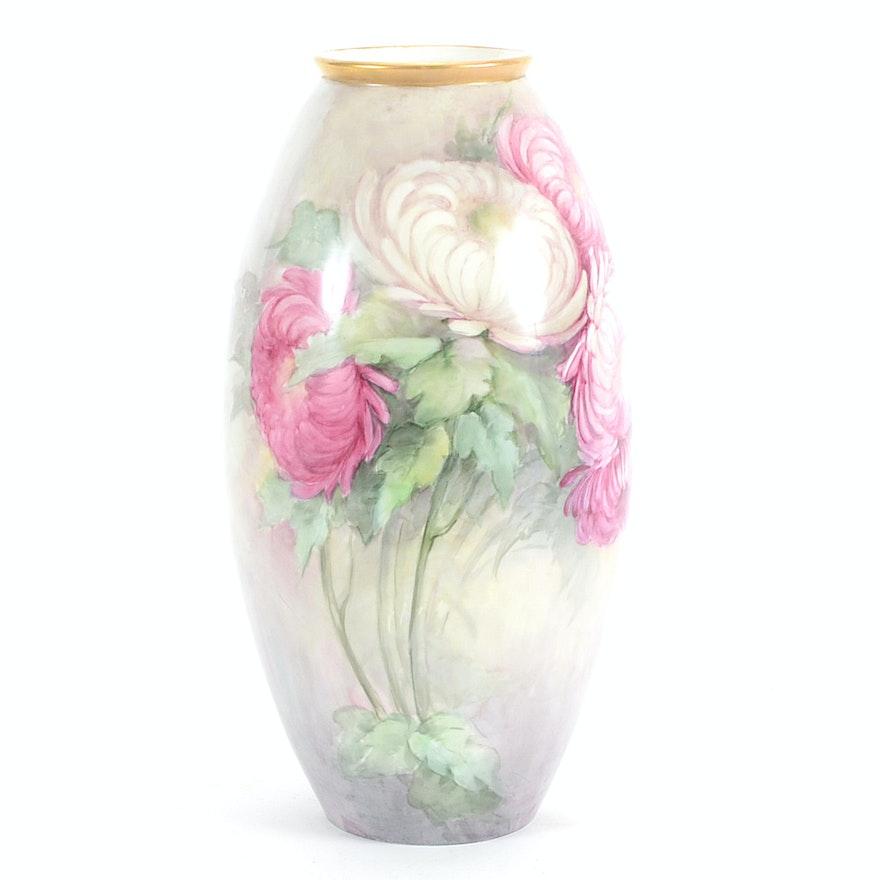1907 Hand Painted American Belleek Willets Porcelain Vase Ebth