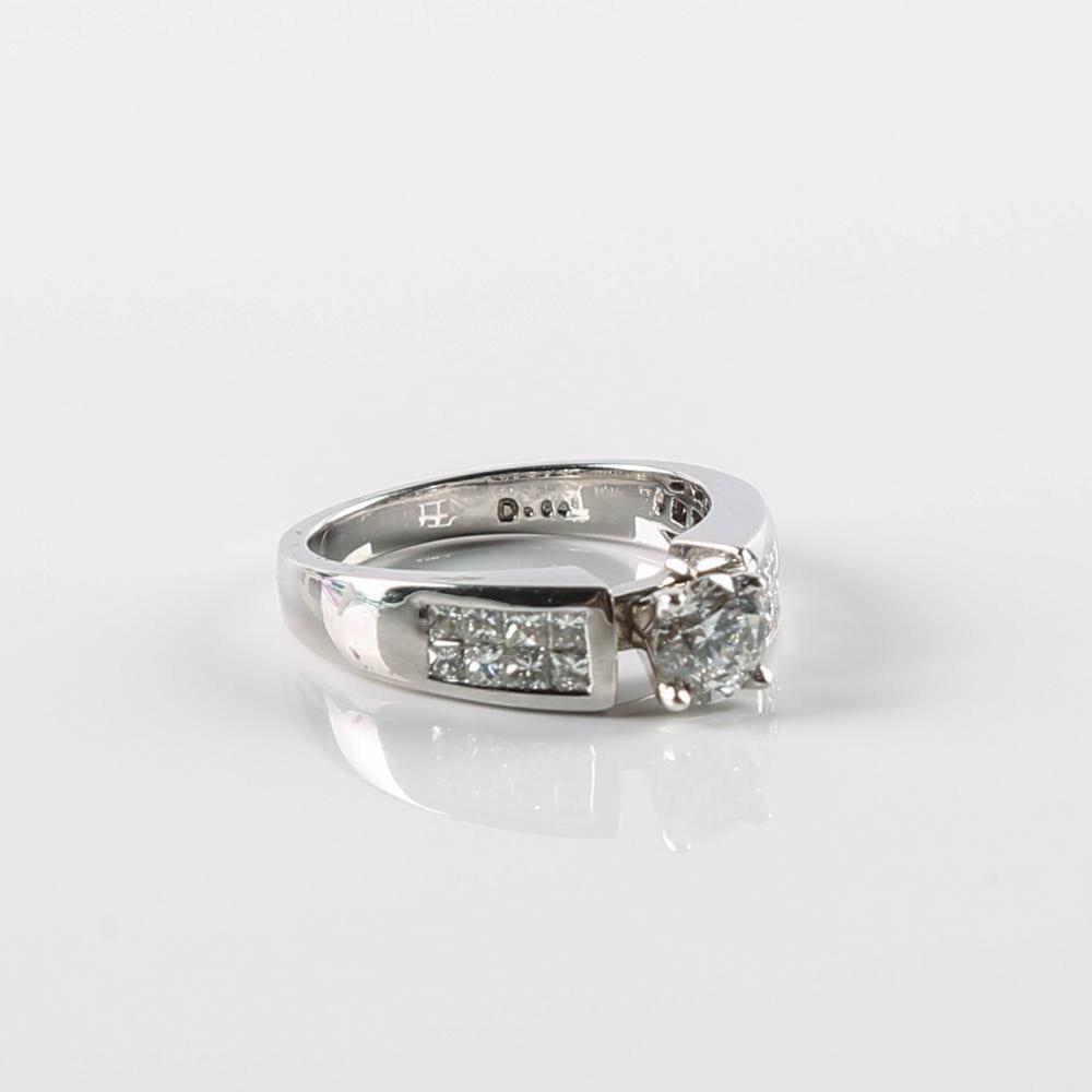 14K Gold Round Brilliant Diamond Ring