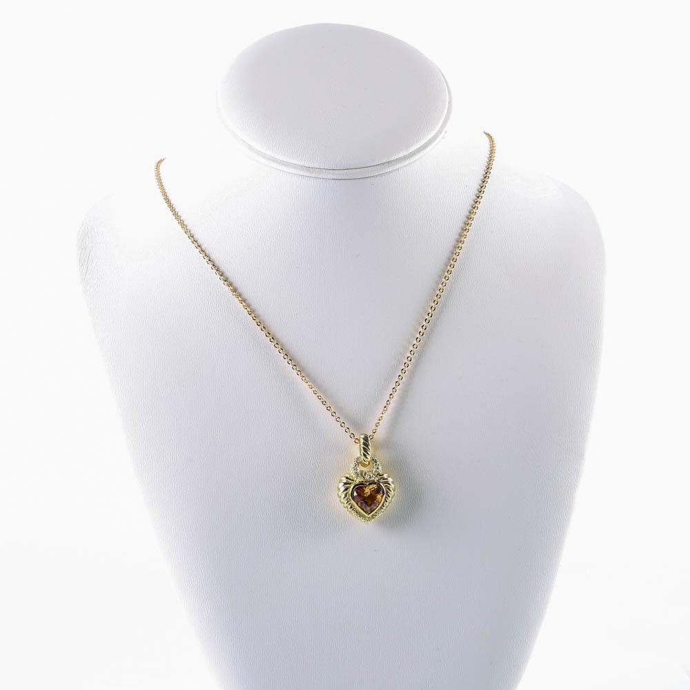 18K Gold Citrine and Diamond Heart Pendant